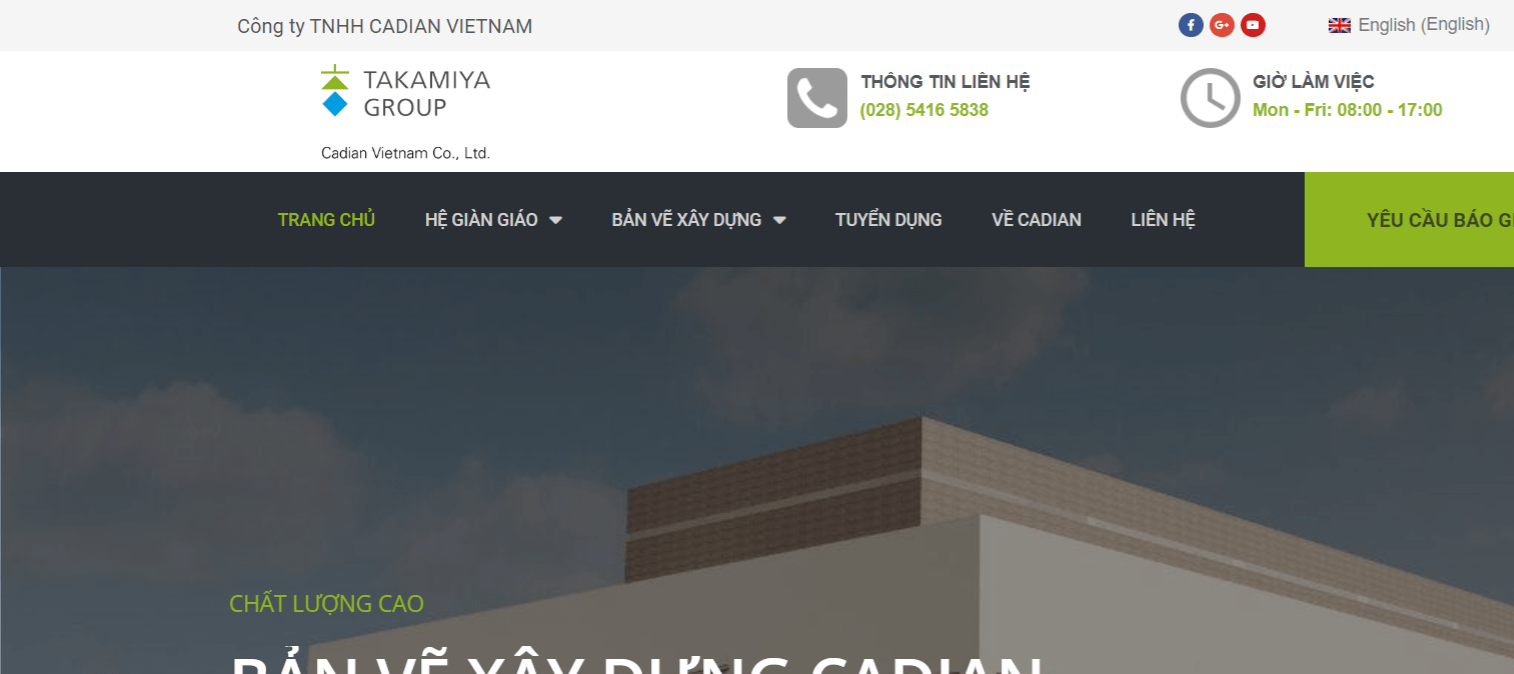 Giao Diện Website Công Ty Xây Dựng Cadian Việt Nam