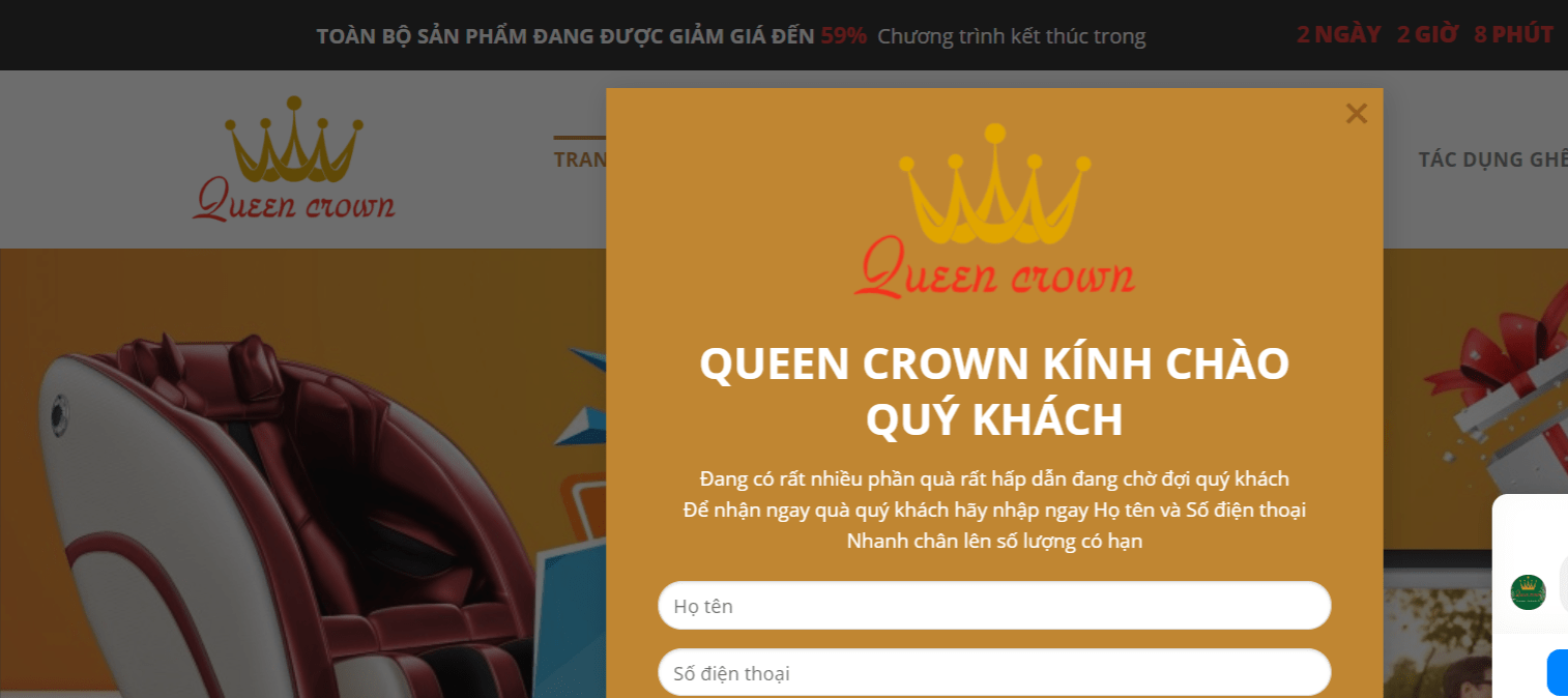 Giao Diện Website Kinh Doanh Ghế Massage Queen Crown