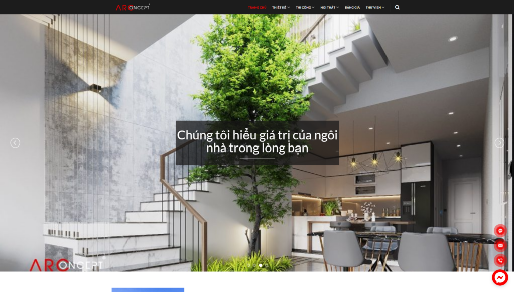 Mẫu giao diện Website Xây dựng - Nội thất Arconcept