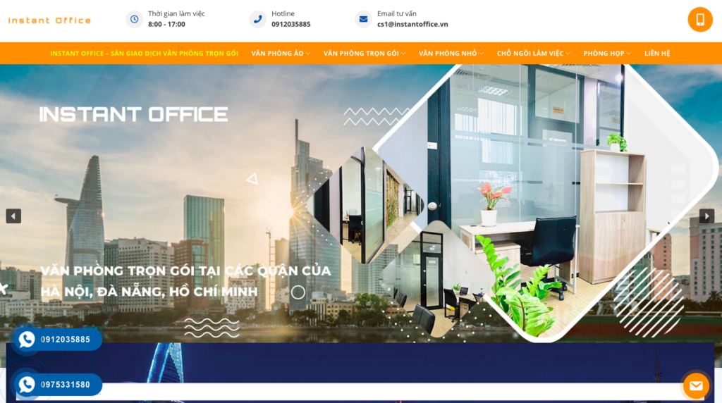 Giao diện website văn phòng ảo theo mẫu Instant Office