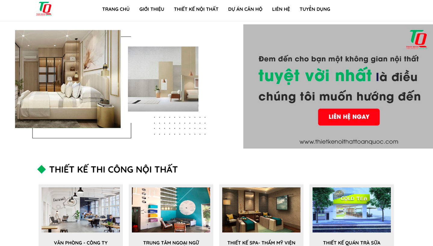 Giao diện website thiết kế nội thất theo mẫu Thietkenoithattoanquoc